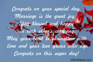 Congratulations On Your Wedding Day Quotes Congrats on your special ...