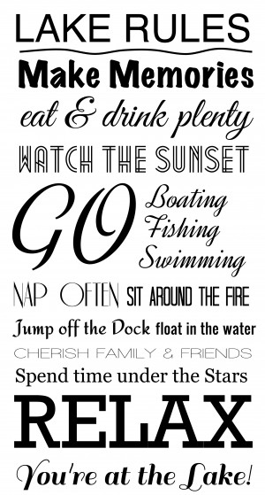 lake rules wall decal $ 45 00 what better way to display the lake ...