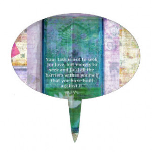 Inspirational Rumi Love Quote white lotus art Cake Toppers