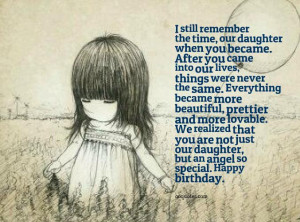 you are not just our daughter, but an angel so special