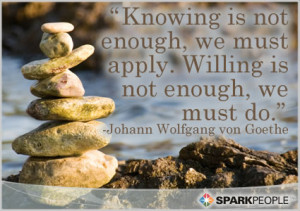 Quote - Knowing is not enough, we must apply. Willing is not ...