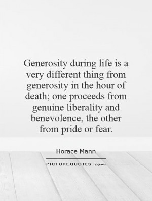 Generosity during life is a very different thing from generosity in ...