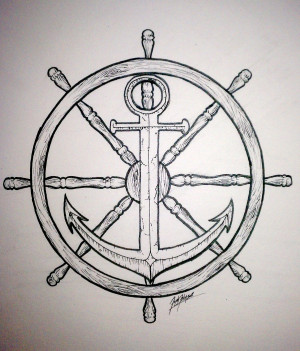 wheel and anchor by synisterartdesign traditional art drawings other ...
