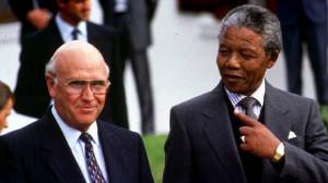 de Klerk and Mr. Mandela in 1993 (Adil Bradlow/Reuters)