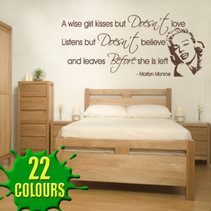 Chocolate A Wise Girl kisses v2 decal above a headboard