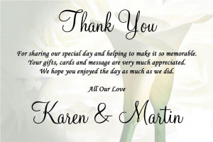Quotes For Wedding Gift Card : Wedding Thank You Quotes. QuotesGram