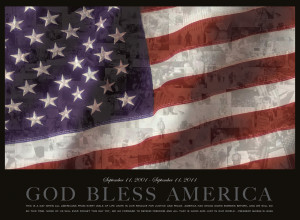 American flag with September 11th images