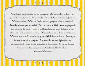 Our Deepest Fear by Marianne Williamson I The Joys of Boys