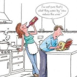 Woman Man Now Reduce Wine Recipe Cartoon