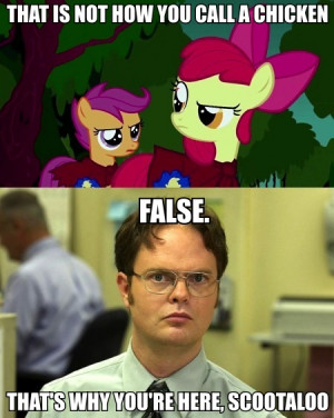 Scootaloo and Dwight Schrute by daddius
