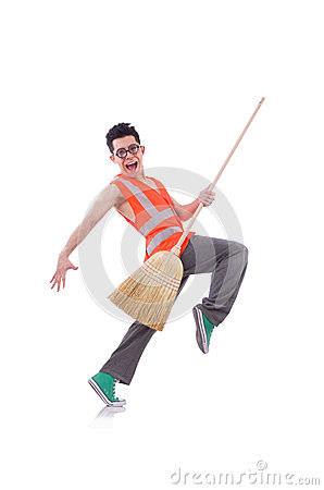 Funny Janitor Isolated White