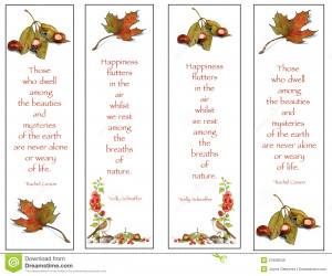 Royalty Free Stock Images: Four Bookmarks: Nature Drawings With Quotes