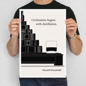William Faulkner Illustration Quote Kitchen Art Print, Large Wall Art ...