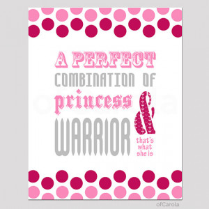 Girls Princess Warrior Quote Wall Art Print, Personalized Teens Baby ...