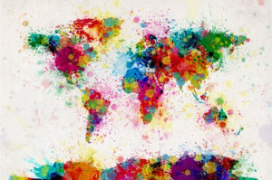Very colorful paint splashes map of the world. I want one!