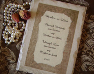 Mother in Law, Shabby and Chic Plaq ue with Original Poem, antiqued ...