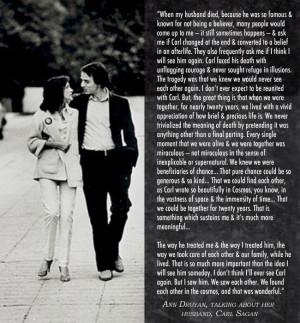 Ann Druyan talking about her husband Carl Sagan