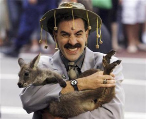 British actor Sacha Baron Cohen, in character as a Kazakh TV reporter ...