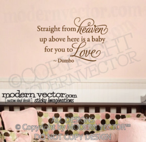 Details about Disney Dumbo Quote Vinyl Wall Decal Nursery HEAVEN BABY