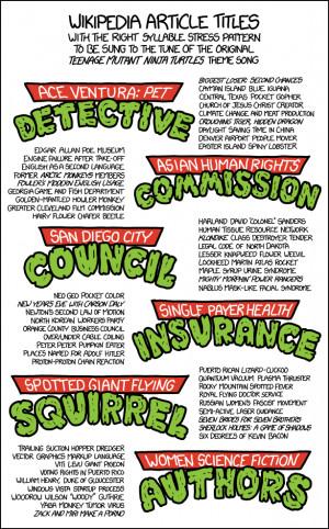 List', has covers of 'The Purple People Eater', the Ninja Turtles ...
