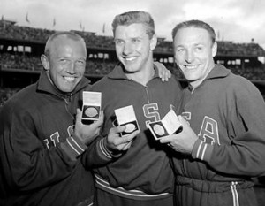 Al Oerter (centre) with other medallists Fortune Gordien and Desmond ...
