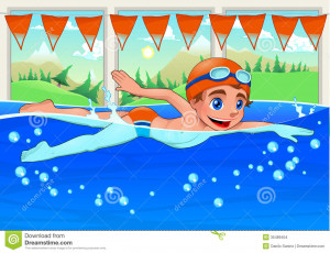 Young swimmer in the swimming pool. Funny cartoon and vector ...