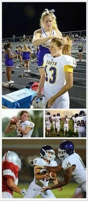 This girl is her high school football teams quarterback. The ...