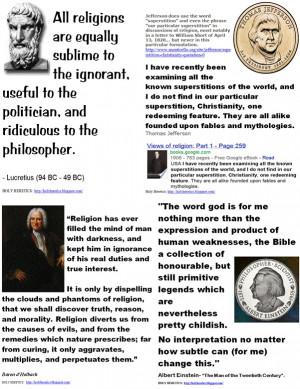 Lucretius, Jefferson, Baron d'Holbach, Einstein on religions equal ...