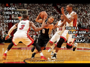 Bosh helps to defend