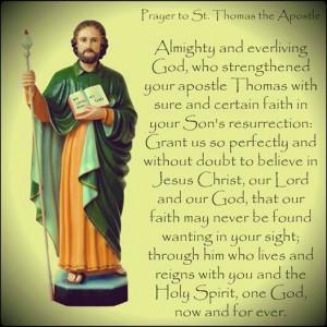 Prayer to St.Thomas the Apostle !