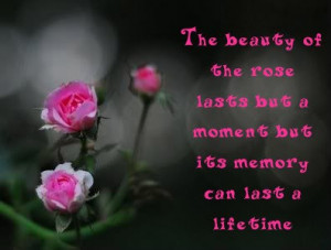 ... Lasts but a Moment but Its Memory Can last a Life Time ~ Flowers Quote