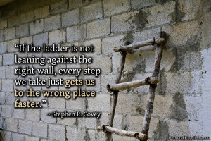 """Inspirational Quote: """"If the ladder is not leaning against the right ..."""