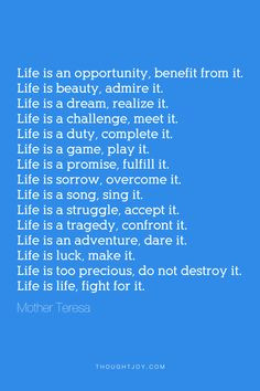 ... tragedy, confront it. Life is an adventure, dare it. Life is luck