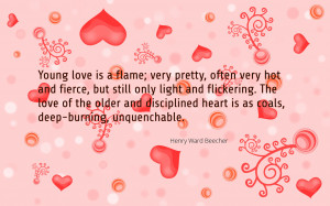 Young love is a flame... quote wallpaper