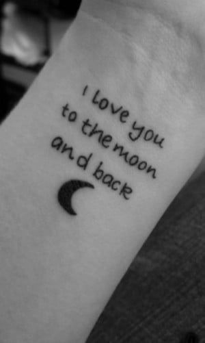 See more I love you to the moon and back quote tattoo with moon