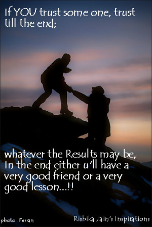 till the very end ….. whatever the results maybe … In the end ...