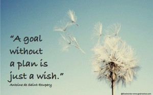 goal without a plan is just a wish QUOTE Antoine de Saint Exupery