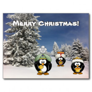 Funny Christmas penguins three wise men Postcard