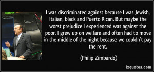 ... against the poor. I grew up on welfare and often had to move in the
