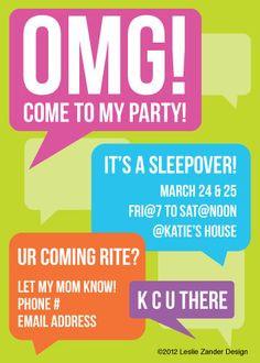 personalized OMG teen/tween birthday party by LeslieZanderDesign, $12 ...