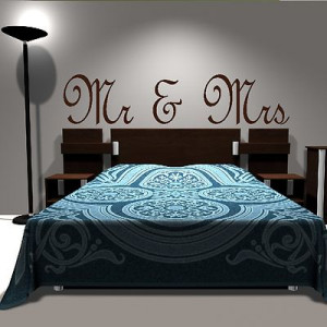 Mr And Mrs Romantic Love Quote Wall Sticker / Art Decor Home Mural ...