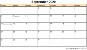 September Calendar Printable Free Template