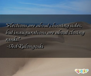 Elections are about choosing sides , but inaugurations are about ...