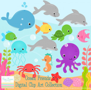 Ocean Animals Digital Clipart, clip art collection 2 options available