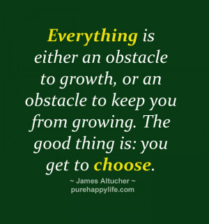 Everything is either an obstacle to growth, or an obstacle to keep you ...