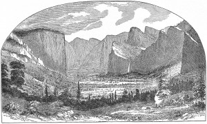 THE FIRST PICTURE OF YOSEMITE VALLEY. Sketched by Thomas A. Ayres ...