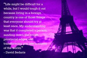 David Sedaris quote about living abroad