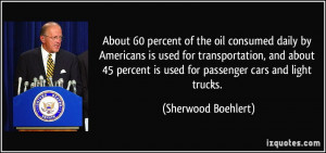 About 60 percent of the oil consumed daily by Americans is used for ...
