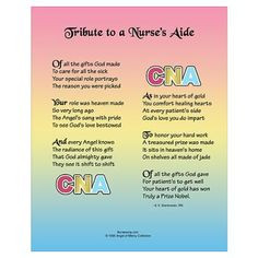 CNA Motivational Quotes | Tribute to a CNA Wall Art Poster