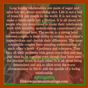 Long Lasting Relationships Are Made Of Sugar And Spice.